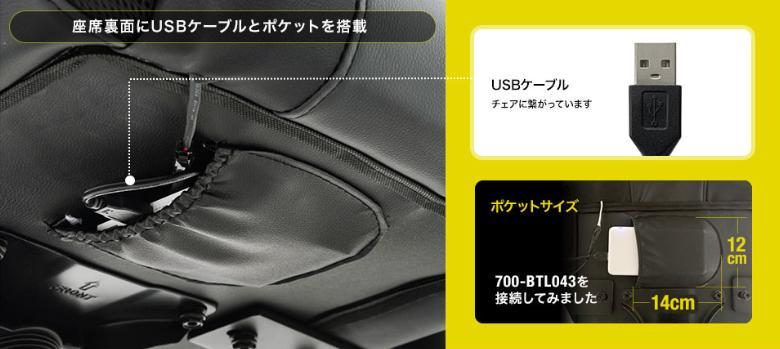 光るゲーミングチェアー USB端子