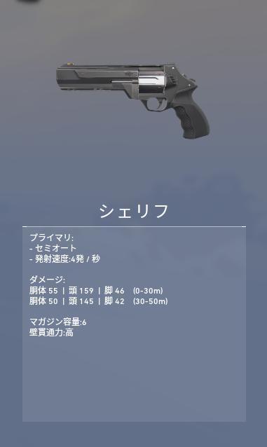 ヴァロラント 武器 シェリフ
