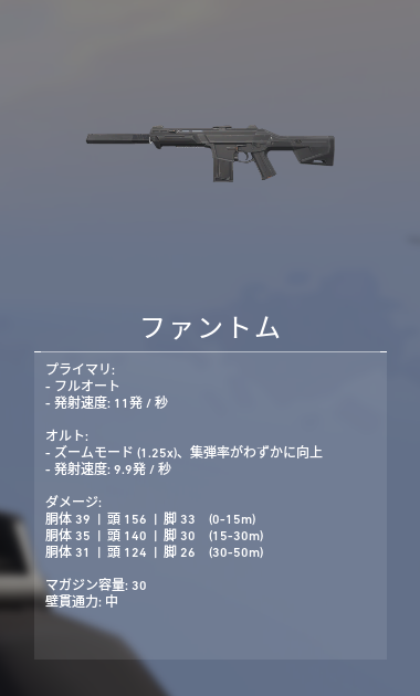 ヴァロラント 武器 ファントム